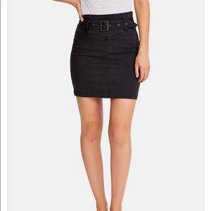 Free People Worn Black Belted Skirt Size 10
